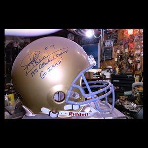 Joe Theismann signed Irish helmet Full size